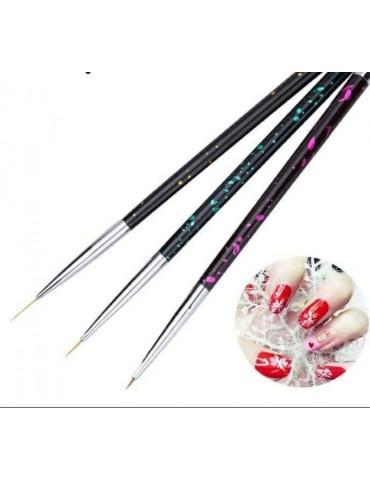 Set 3 pensule Nail Art -...